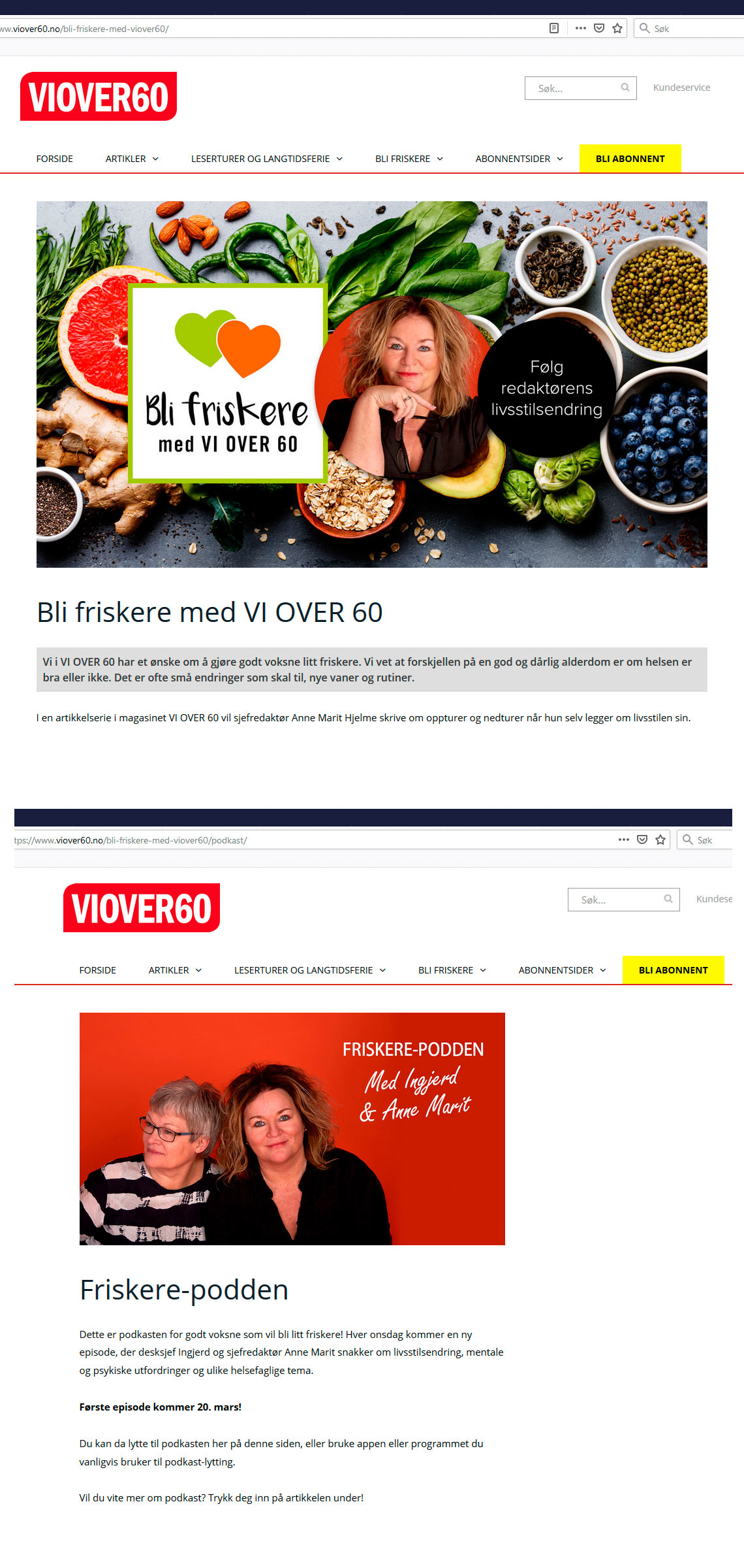 Oppdrag for bladet VI OVER 60